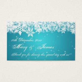 Elegant Wedding Favor Tag Winter Snowflakes Blue