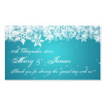 Elegant Wedding Favor Tag Winter Snowflakes Blue Double-Sided Standard Business Cards (Pack Of 100)