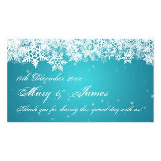 Elegant Wedding Favor Tag Winter Snowflakes Blue Business Card Templates