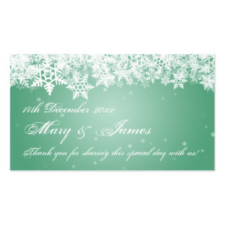 Elegant Wedding Favor Tag Winter Snowflakes Mint Business Card Template