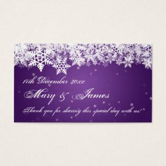 Elegant Wedding Favor Tag Winter Snowflakes Purple