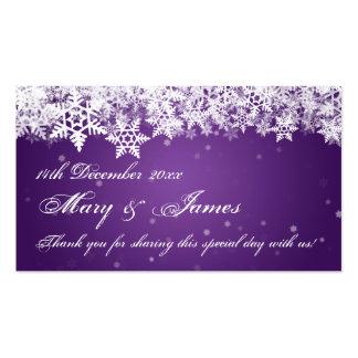 Elegant Wedding Favor Tag Winter Snowflakes Purple Business Card