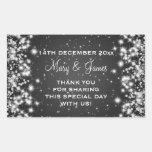 Elegant Wedding Favor Tag Winter Sparkle Black Rectangular Sticker