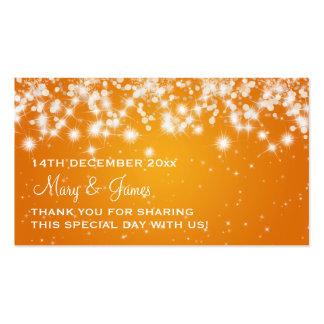 Elegant Wedding Favor Tag Winter Sparkle Orange Business Card