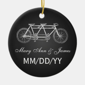 Elegant Wedding Favor Tandem Bike Black Ceramic Ornament