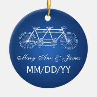 Elegant Wedding Favor Tandem Bike Blue Double-Sided Ceramic Round Christmas Ornament