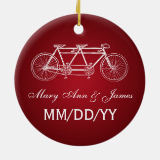 Elegant Wedding Favor Tandem Bike Red Ceramic Ornament