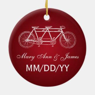 Elegant Wedding Favor Tandem Bike Red Double-Sided Ceramic Round Christmas Ornament