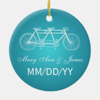 Elegant Wedding Favor Tandem Bike Turquoise Ceramic Ornament