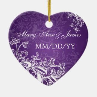 Elegant Wedding Favor Vintage Swirls Purple Ornament