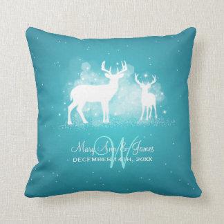 Elegant Wedding Favor Winter Deer Sparkle Turquois Throw Pillow