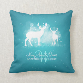 Elegant Wedding Favor Winter Deer Sparkle Turquois Throw Pillow