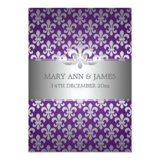 Elegant Wedding Fleur De Lis Purple Card