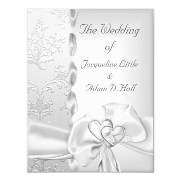 Valentines Themed Elegant Wedding Floral Silver White Bow Hearts Card