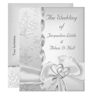Elegant Wedding Floral Silver White Bow Hearts Invitation