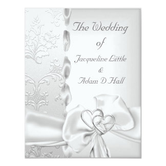 Elegant Wedding Floral Silver White Bow Hearts Personalized Invites