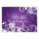 Elegant Wedding Floral Swirls Purple Custom Announcement