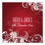Elegant Wedding Floral Swirls Red 5.25x5.25 Square Paper Invitation Card
