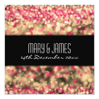 "Elegant Wedding Fuchsia And Gold Sparkling Lights 5.25"" Square Invitation Card"