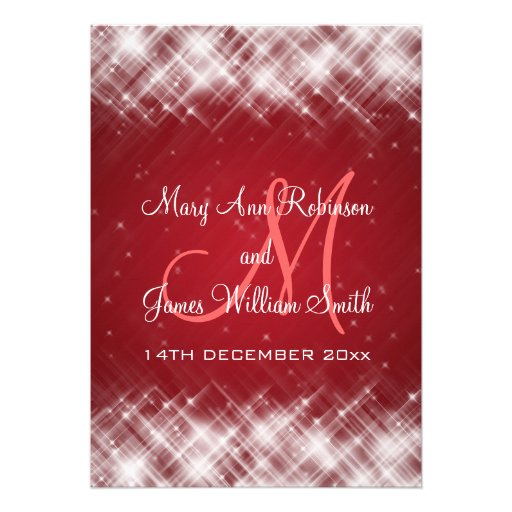 Elegant Wedding Glamorous Sparks  Red Personalized Invitation