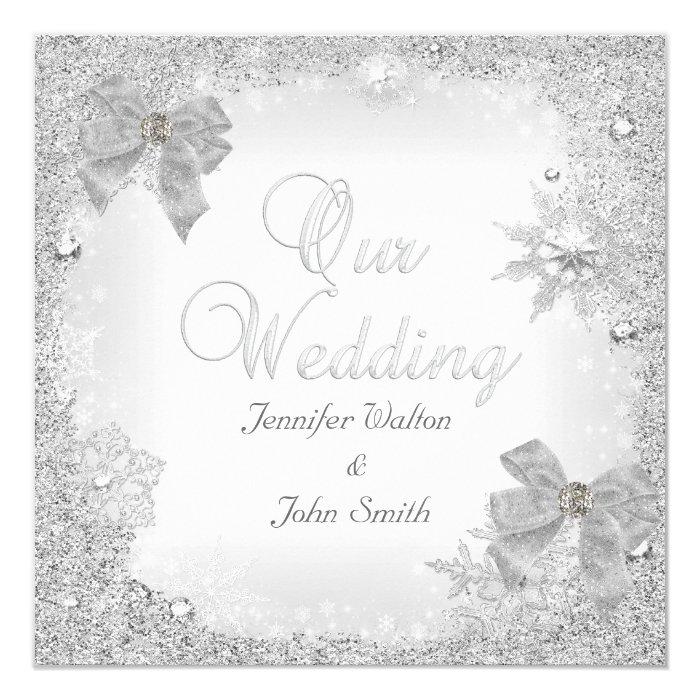 Elegant Wedding Glitter Silver White Bow Card | Zazzle