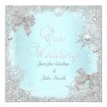 Elegant Wedding Glitter Teal Silver White Bow Custom Announcements