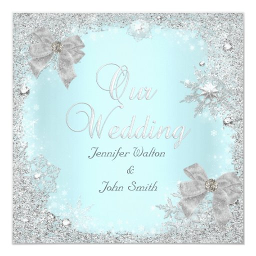Teal And Silver Wedding Invitations: Elegant Wedding Glitter Teal Silver White Bow 5.25x5.25