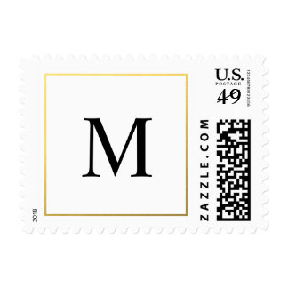 Elegant Wedding Gold Border and Monogram Stamps