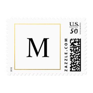Elegant Wedding Gold Border and Monogram Stamps