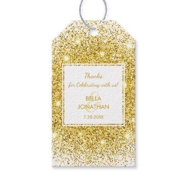 Beach Themed Elegant Wedding Gold Confetti Thank You Favor Gift Tags