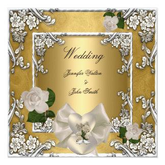 Elegant Wedding Gold Cream Rose Silver Card