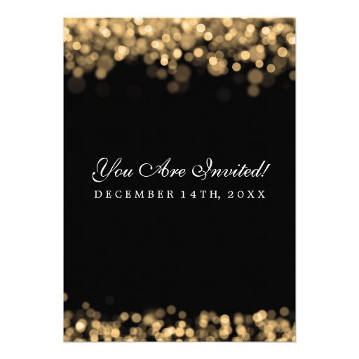 Elegant Wedding Gold Lights Custom Invitation (back side)