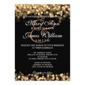 Elegant Wedding Gold Lights Personalized Announcement