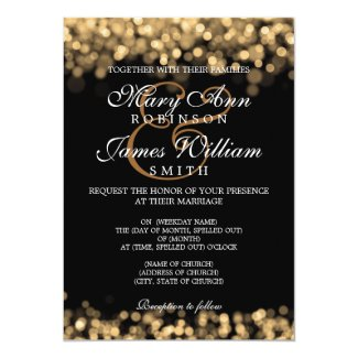 Elegant Wedding Gold Lights Invitation