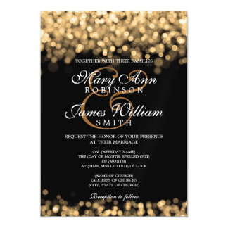 Elegant Wedding Gold Lights Magnetic Card