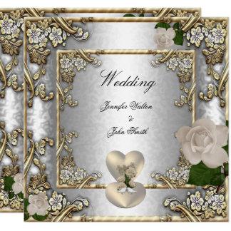 Elegant Wedding Gold Rose Silver White Invitation