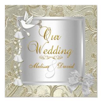 Elegant Wedding Gold Silver White Dove Damask 5.25x5.25 Square Paper Invitation Card