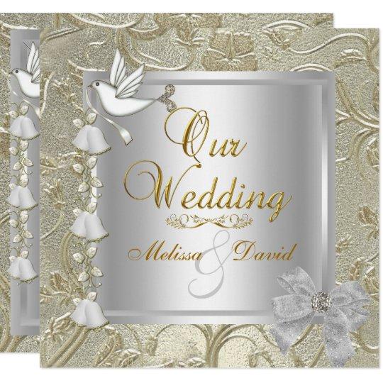 Elegant Wedding Gold Silver White Dove Invitation
