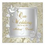 Elegant Wedding Gold Silver White Dove Invite