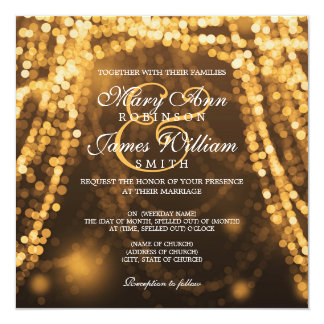 Elegant Wedding Gold String Lights Card