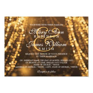 Elegant Wedding Gold String Lights 5x7 Paper Invitation Card