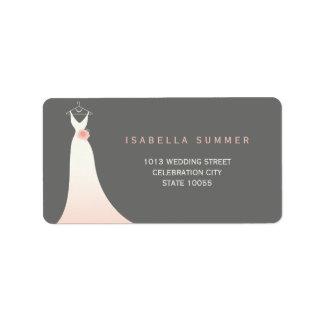 Elegant Wedding Gown Bridal Shower Address Labels