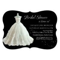 Elegant Wedding Gown Bridal Shower Invitation