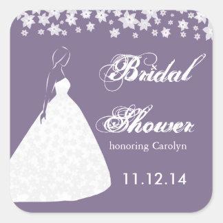 Elegant Wedding Gown Flower Bridal Shower Sticker