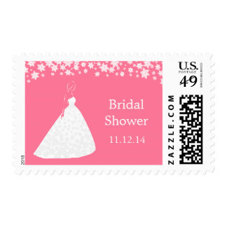 Elegant Wedding Gown Flowers Bridal Shower Stamp