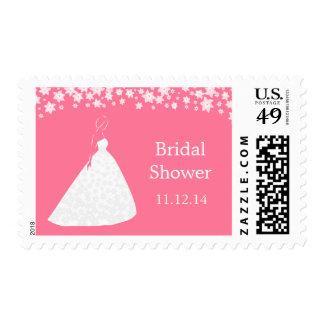 Elegant Wedding Gown Flowers Bridal Shower Stamp