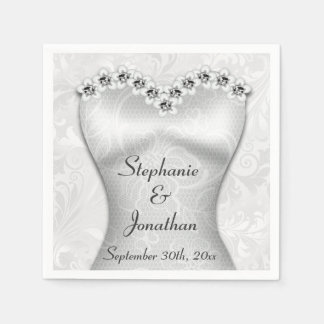 Elegant Wedding Gown Serviettes Disposable Napkins