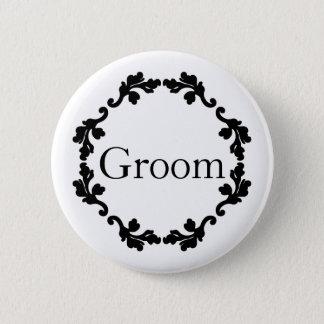 Elegant wedding Groom Pinback Button