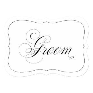 Elegant Wedding Groom Sign Die Cut Black Border Card