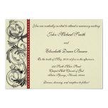 "Elegant Wedding Invitation: Black, Red, and Taupe 5"" X 7"" Invitation Card"